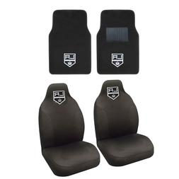 Hockey Los Angeles Kings Seat Covers Set w/ Carpet Front Flo