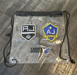 LA KINGS & LA Galaxy Clear Draw String Backpack Measures 12x