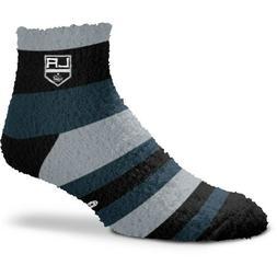 Los Angeles Kings Hockey Black & Gray Rainbow Stripe Fuzzy S
