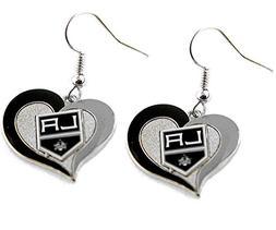 LA Los Angeles Kings Swirl Heart Earring NHL Dangle Logo Cha