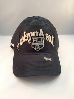 LOS ANGELES KINGS  BLACK COTTON SLOUCH VISOR ADJ STRAP CAP B