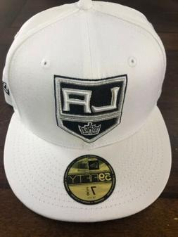 Los Angeles Kings New Era Fitted Hat Cap 7 3/8 White Msrp $3