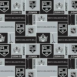 Los Angeles Kings NHL Box Design Cotton Fabric-$8.99/yard