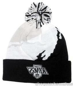Los Angeles Kings NHL Mitchell & Ness Black Pom Ball Knit Ha