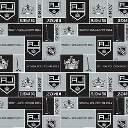 NHL Hockey Los Angeles Kings Logo Squares Black Silver Cotto