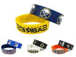 NHL Hockey Silicone Rubber Bracelet Wristband 2 Pcs - Pick T