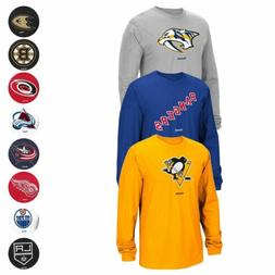 "NHL Reebok ""Jersey Crest"" Team Primary Logo Long Sleeve T-Sh"