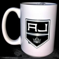 NHL Los Angeles Kings 15oz. Ceramic coffee mug pewter raised