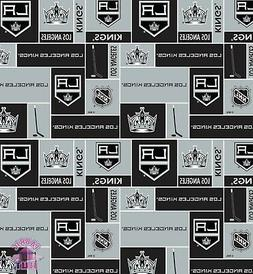 NHL Los Angeles LA Kings Block Anti Pill Fleece Fabric by th