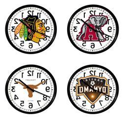 "Sports Team Logos 11"" Round Wall Clock Black Plastic Frame M"